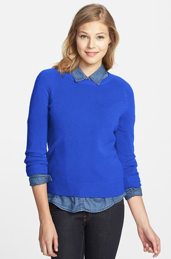 Halogen  Long Sleeve Crewneck Cashmere Sweater
