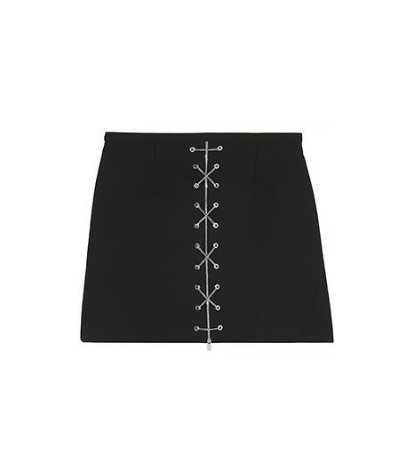 The lace-up, chain detail on this mini skirt is the perfect blend of tough and tantalizing.
