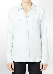 Calvin Klein Ghost Pocket Faded Denim Shirt