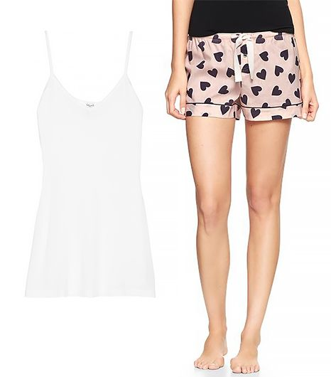 Gap Printed Poplin Shorts ($20) and Splendid Cotton and Modal-Blend Camisole ($45)