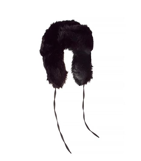 Monki Monki Bobbie Faux Fur and PU Trapper Hat