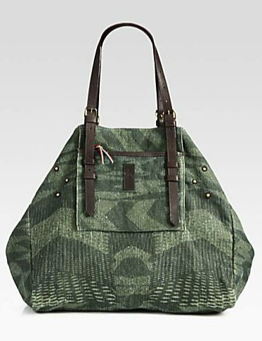 Jerome Dreyfuss  Jerome Dreyfuss Printed Linen Shopper Tote