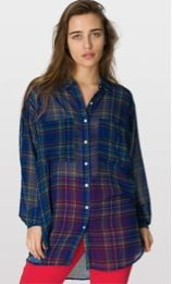 American Apparel American Apparel Plaid Chiffon Oversized Button-Up
