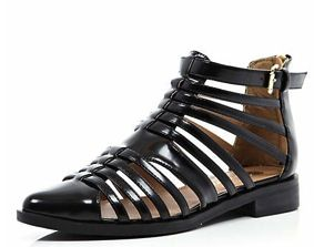 River Island River Island Black Patent Closed Toe Gladiator Sandals