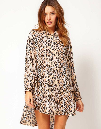 Nookie Beach  Nookie Beach Leo Print Shirt Dress