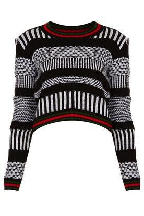Topshop  Topshop Knitted Mono Morrocan Crop Jumper