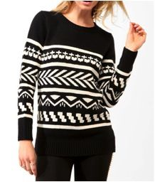 Forever 21 Forever 21 Longline Geo Pattern Sweater