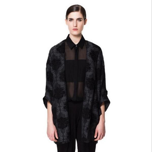 Zara Zara Jacquard Pattern Enclosing Coat