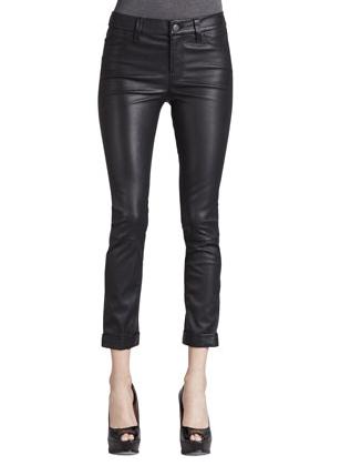J Brand Anja Cuffed Leather Skinny Pants