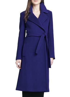 Diane von Furstenberg Michaele Belted Wool-Blend Long Coat