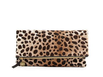 Clare Vivier Supreme Leopard-Print Fold-Over Clutch Bag