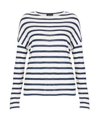 Topshop Linen Stripe Long Sleeve T Shirt