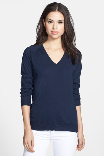 Sweet Romeo Chloe Elbow Patch V-Neck Sweater