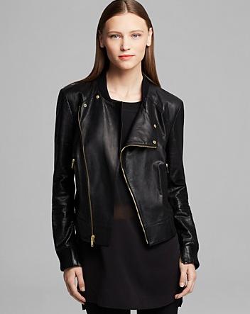 DKNY Asymmetrical Zip Front Leather Jacket