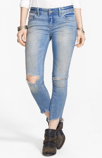 Free People Destroyed Skinny Ankle Jeans