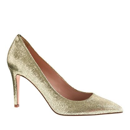 J.Crew Everly Cracked Metallic Leather Pumps