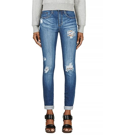 Nobody Blue Distressed Skinny Cult Jeans