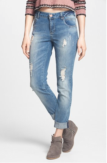 Fire Girlfriend Distressed Tapered Jeans