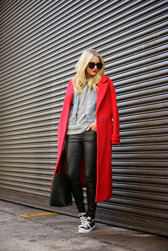 Day 26: Wear a bold coat with simple essentials.
