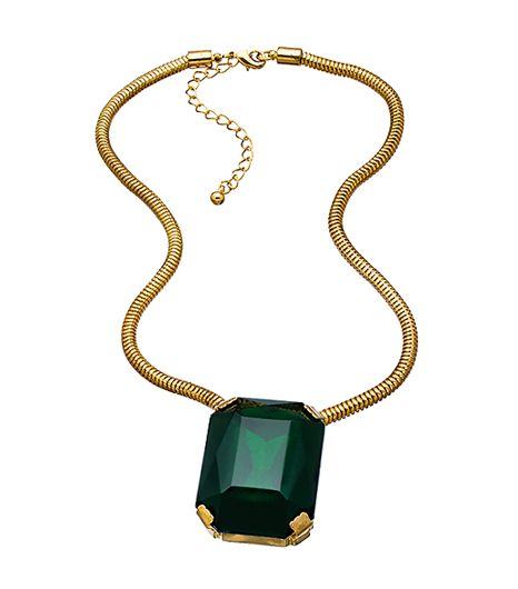 Yochi Gold and Large Green Stone Necklace