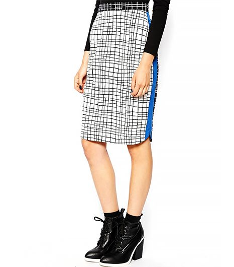 ASOS Pencil Skirt In Scratchy Check Print