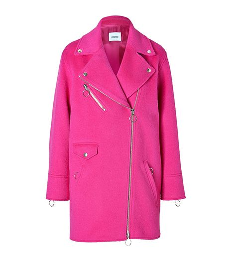 Moschino C&C Alpaca-Wool Blend Biker-Style Coat