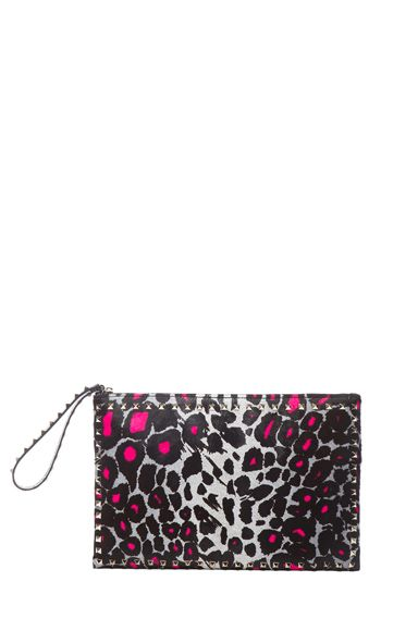 Valentino Small Cheetah Rockstud Clutch