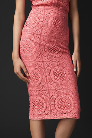 Burberry Prorsum English Trellis Lace Pencil Skirt