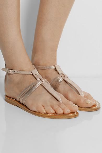 K Jacques St Tropez Metallic Leather Sandals