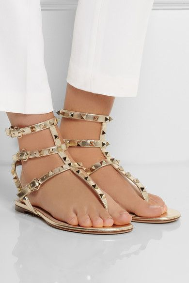 Valentino Studded Metallic Leather Sandals
