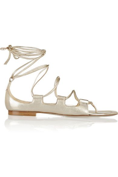 Tamara Mellon Chill Out Metallic Leather Sandals