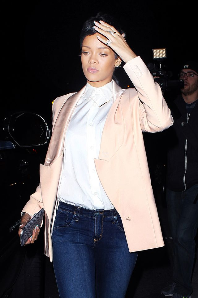 Rihanna   Looking to update your office attire? Take notes on how Rihanna styled her Jennifer Zeuner Jewelry Horizontal Bar Necklace With Diamond ($220) over a buttoned-up collared shirt.
