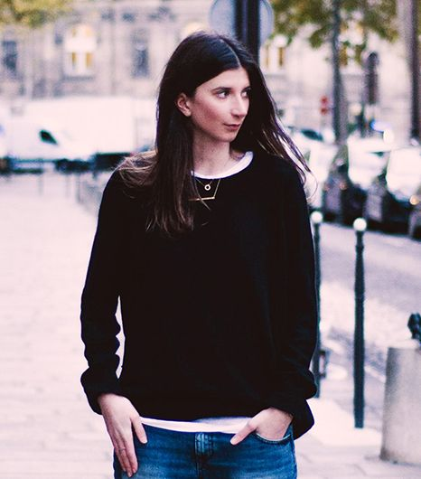 Labériane Ponton of The Blab  We're partial to Ponton's geometric-inspired combination of circle necklace and Jennifer Zeuner Jewelry's Horizontal Bar Necklace with...
