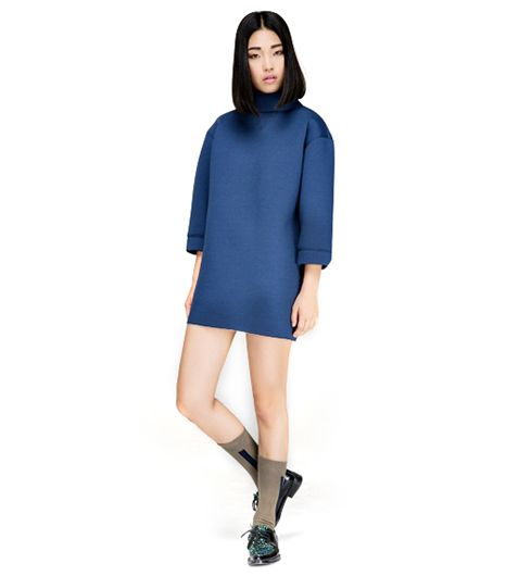 Front Row Shop Sponge High-Neck Dress