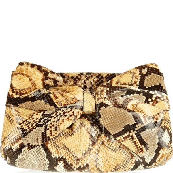 Valentino Bow-Embellised Python Clutch