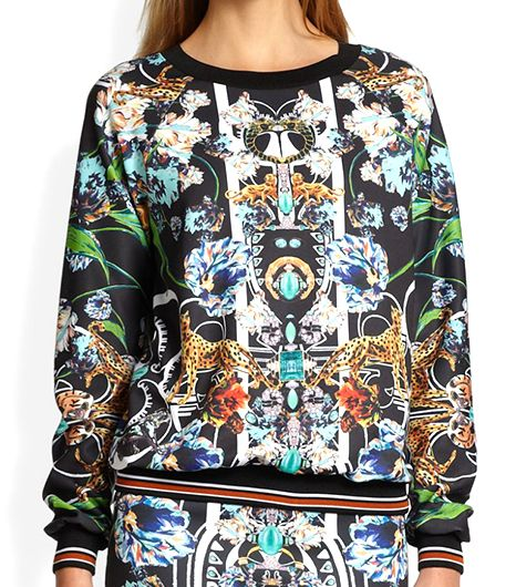 Clover Canyon Gold Panther Printed Neoprene Sweatshirt