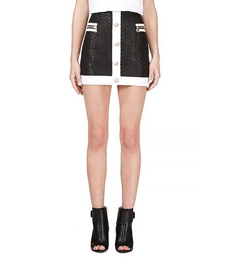 Balmain Black & White Woven Mini Skirt
