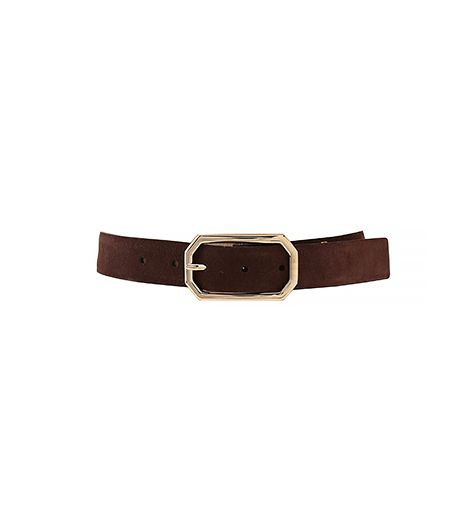 Anne Klein Suede Panel With Octagon Buckle Belt