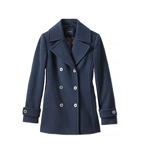 Lands' End Women's Regular Wool Cashmere Blend Pea Coat
