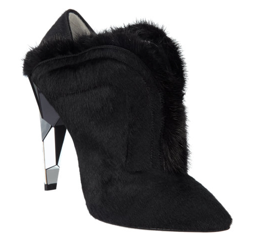 Fendi Fur-Trimmed Patent Leather Ankle Boots