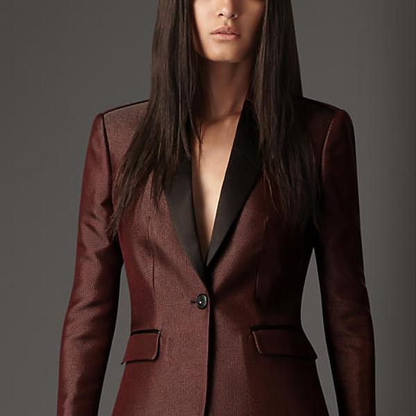 Burberry Prorsum Satin Trim Tailored Jacket