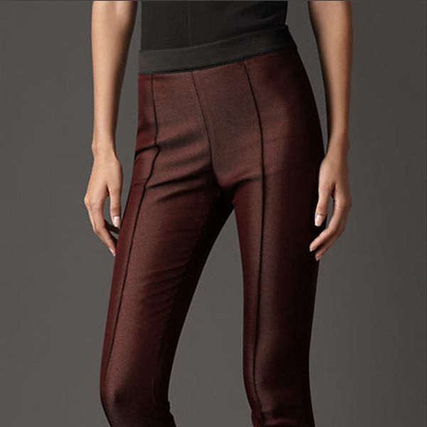 Burberry Prorsum Satin Trim High-Waist Trousers