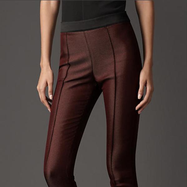 Burberry Prorsum Satin Trim High-Waist Trousers