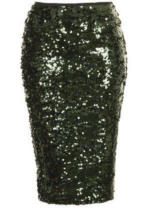 Topshop Sequin Pencil Skirt