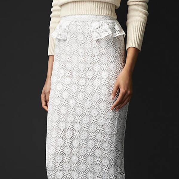 Burberry Prorsum English Geometric Lace Skirt