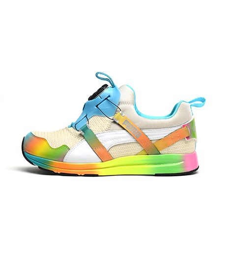 PUMA PUMA x Solange Girls of Blaze Disc Collection Burlap Rainbow Sneakers in White Swan