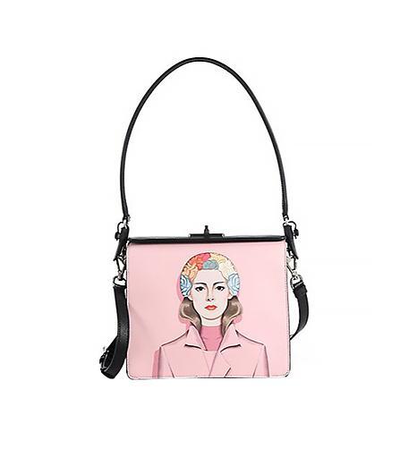 Prada Saffiano Face-Printed Crossbody Bag