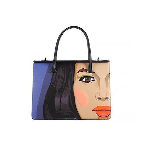 Prada Saffiano Face-Print Top Handle Shopper