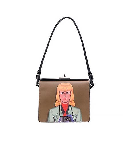 Prada Face-Printed Saffiano Shoulder Bag