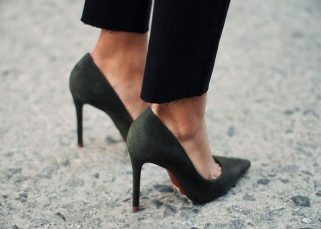 3. Lower-priced faux-suede pumps look more posh than faux-leather pumps do.